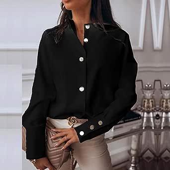 LYFST Camisas de Mujer Camisa Blanca Elegante Botones de ...
