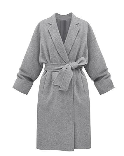 5473e2ee1e97 Femme Mélange de laine Manteau Chaud Manches Longues Veste Jacket Trench  Blouson Manteau d hiver avec Ceinture  Amazon.fr  Vêtements et accessoires