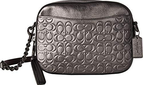 COACH Women's Metallic Signature Leather Camera Bag Gunmetal/Metallic Graphite One ()