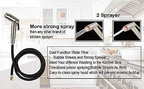 Chrome Kitchen Sink Spray head with 12 Brass Adapters Fit 99.99/% Kitchen in USA Kitchen Side Sprayer Kitchen Sink Faucet Spray Head Replacement with Kitchen Sink Faucet Sprayer Hose and Holder