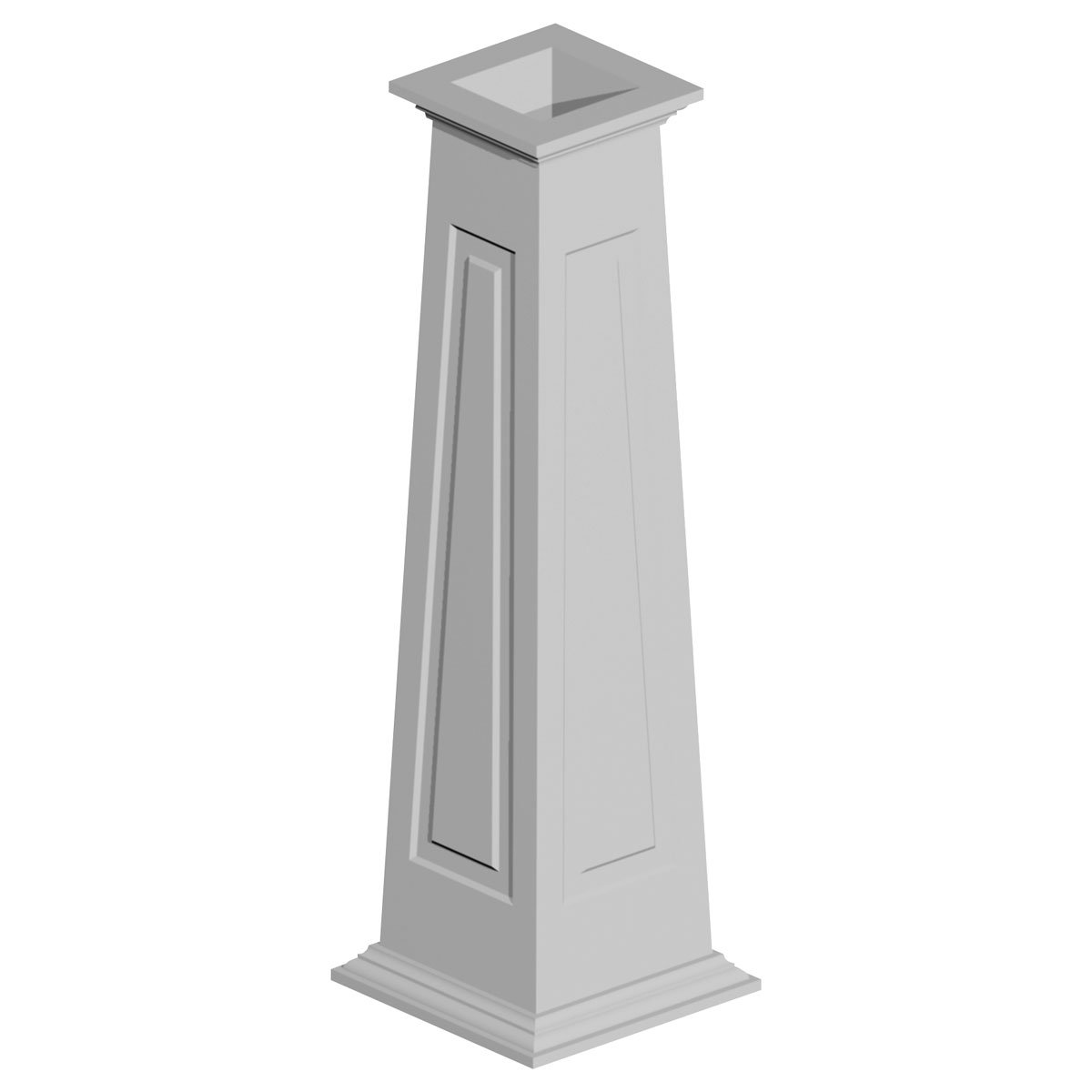 Fypon CWKT86188 20'' Bottom x 13'' Top x 96'' Height Tapered Raised Panel Column Wrap