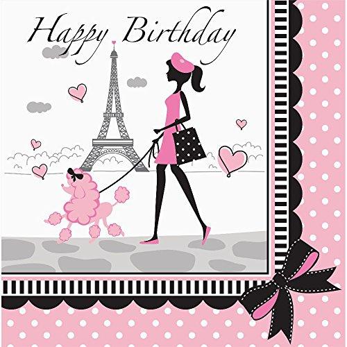 Party Paris Happy Birthday Napkins