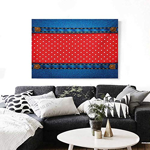 Polka Dots Wall Art Canvas Prints Jeans Pockets Frame Print with Little Polka Dots Traditional European Art Design Ready to Hang for Home Decorations Wall Decor 36