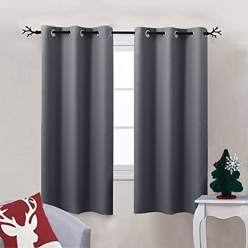Nicetown Thermal Insulated Grommet Blackout Curtain for Bedroom (Single Panel, W42 x L63 -Inch,Grey)