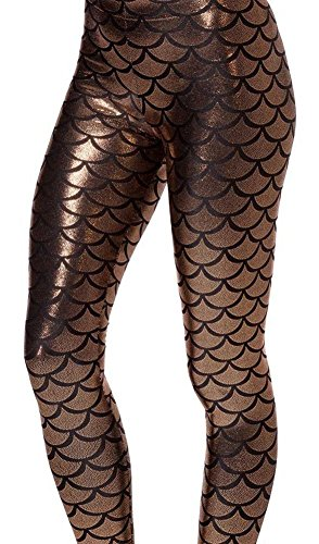 Scale Print (Alaroo Women Shiny Mermaid Print Scale Leggings Brown XL)