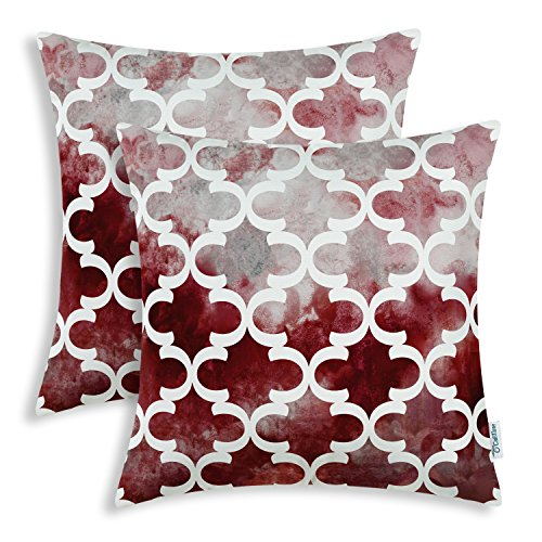 CaliTime Pack of 2 Cozy Fleece Throw Pillow Cases Covers for Couch Bed Sofa Manual Hand Painted Print Colorful Quatrefoil Geometric 18 X 18 Inches Burgundy