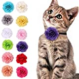 12PCS Dog Cat Flower Collars Pet Bow Tie Chiffon Collars Grooming Accessories Mixed Color (Color : Mixed Color)