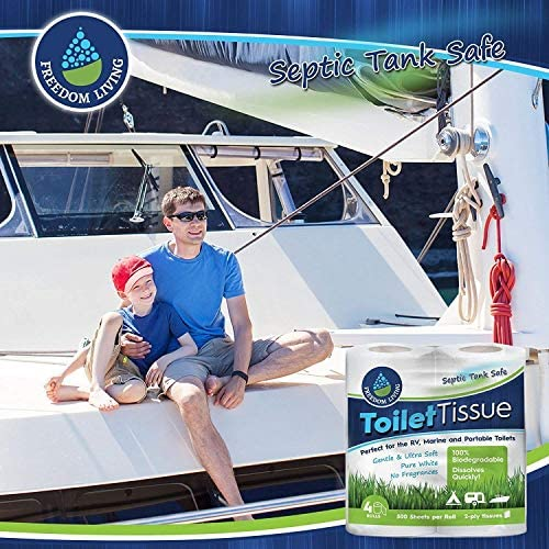 Freedom Living Septic Tank Safe Toilet Tissue (2-Ply, 4 Rolls, 500 Sheets each and every) For RV, Camping & Marine, Biodegradable,-Natural Alternative to Septic System Treatment Chemicals, Cleaner