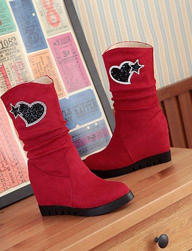 us8 Xzz A De Blue Cn36 Negro Punta Eu36 Vestido Red La Eu39 Uk6 Mujer us6 Cuña Redonda Cn39 Zapatos Azul Uk4 Casual Botas Rojo Vellón Tacón Moda rg58rw
