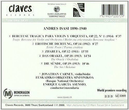 Andres Isasi: Orchestral Works - Basque Music Collection Vol. IV by CLAVS