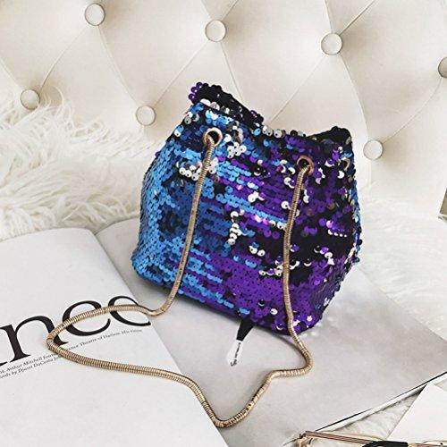 FENICAL Mini bolsa de cubo de lentejuelas Shiny Crossbody Bag Chain bolso de hombro para mujeres niñas (azul)