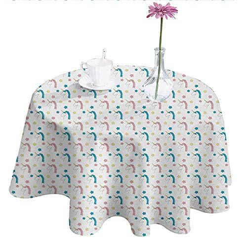 DouglasHill Pastel Printed Tablecloth Fairytale Character Cute Cartoon Unicorns with Colorful Mane Hair and Stars Desktop Protection pad D35 Inch Blue Coral Yellow