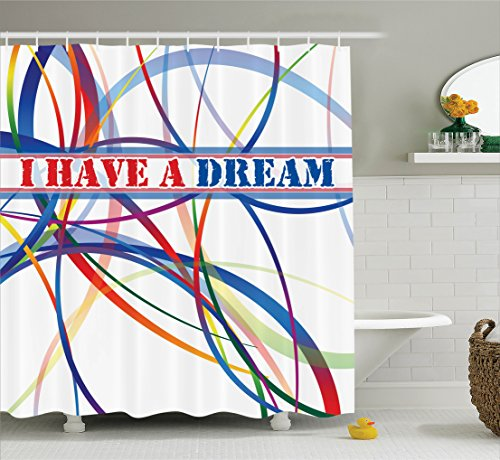 Ambesonne Quotes Decor Collection, Have a Dream Famous Quote by MLK Black History Month African American Image, Polyester Fabric Bathroom Shower Curtain Set with Hooks, Navy Blue Red White