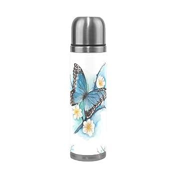 jstel mariposa aislado al vacío botella de agua de acero inoxidable a prueba de fugas botella