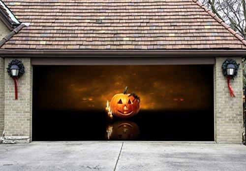 Garage Door Halloween Decoration Banners Billboard Halloween Pumpkins Decor for Door 3d Effect for House (Halloween Decorations Garage Door)
