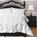Hypoallergenic Comforter Set with Pillow Shams - 3 Piece - Decorative Pinch Pleat Pintuck - Wrinkle Resistant Microfiber with Lightweight Goose Down Alternative Fill - King, White