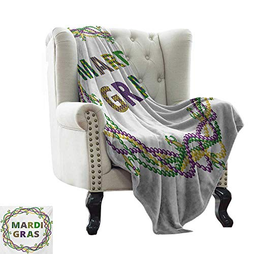 - BelleAckerman Soft Cozy Throw Blanket Mardi Gras,Vivid Beads Circular Frame with Lettering Traditional Patterns Print,Purple Green Yellow Throw Lightweight Cozy Plush Microfiber Solid Blanket 60