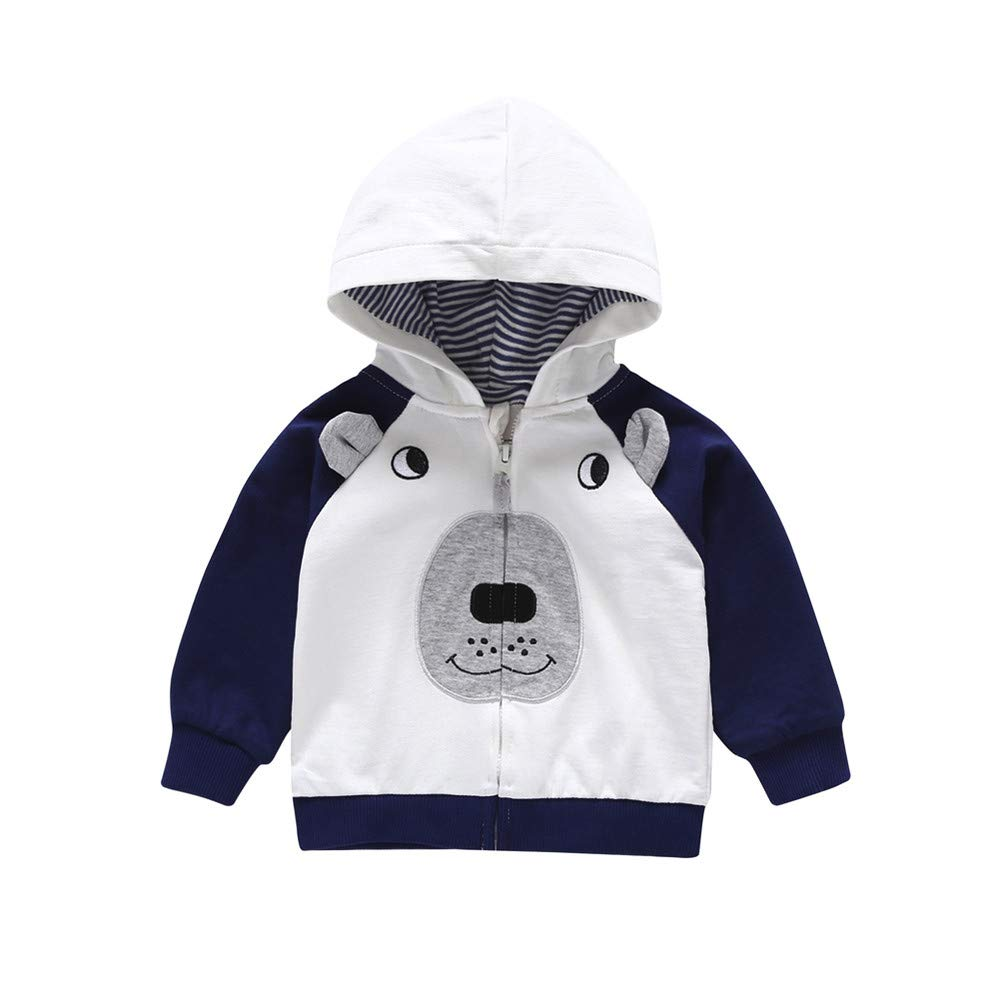 Sagton Toddler Baby Boys Long Sleeve Stripe Cartoon Bear Color Blocking Hoodie Tops Zip Warm Outfits Coat Jacket (18M, Blue)