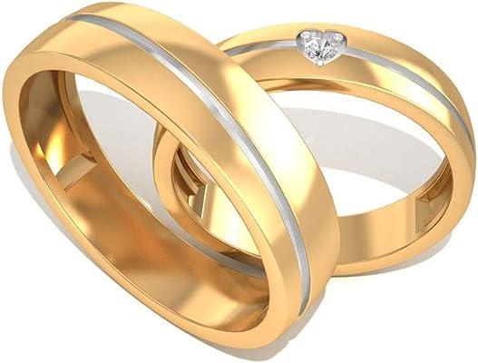 alianza de oro con diamante de 14K corazón