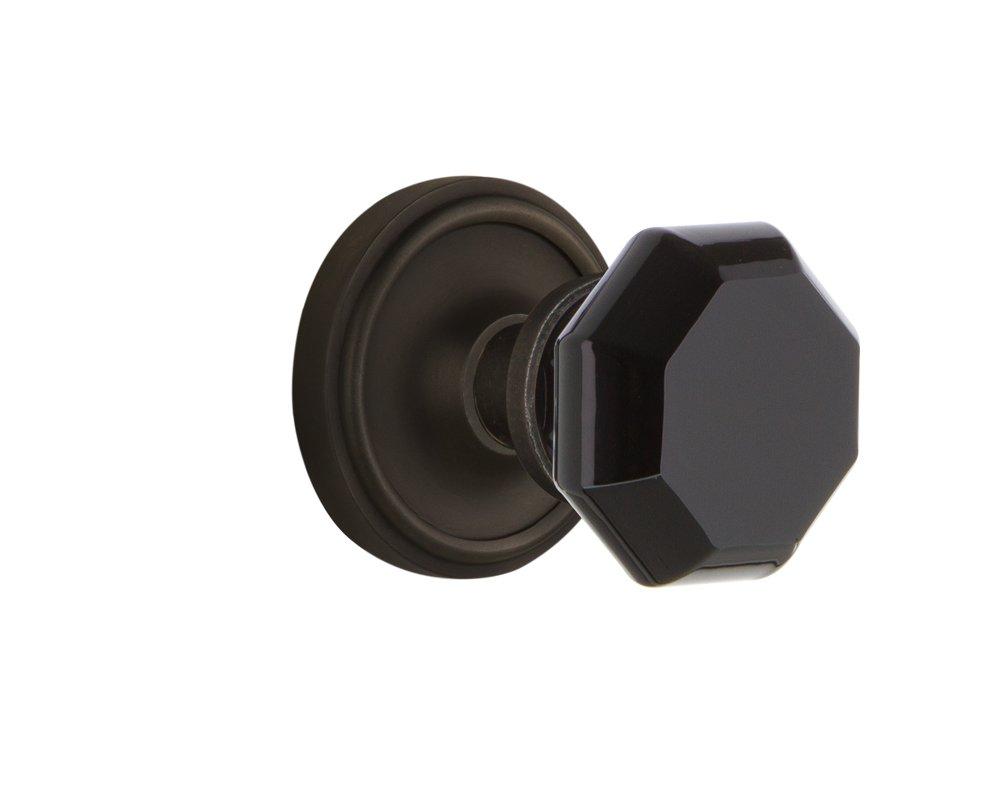 Nostalgic Warehouse 720245 Classic Rosette Passage Waldorf Black Door Knob in Unlaquered Brass Passage 2.75