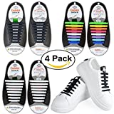 No Tie Shoelaces, no tie shoelaces for adults | Silicone Flat Elastic Shoe Laces | Lock Bands for board shoes, athletic shoes, sneakers, casual shoes, hiking boots, fancy shoes (multicolor,4 Pack)