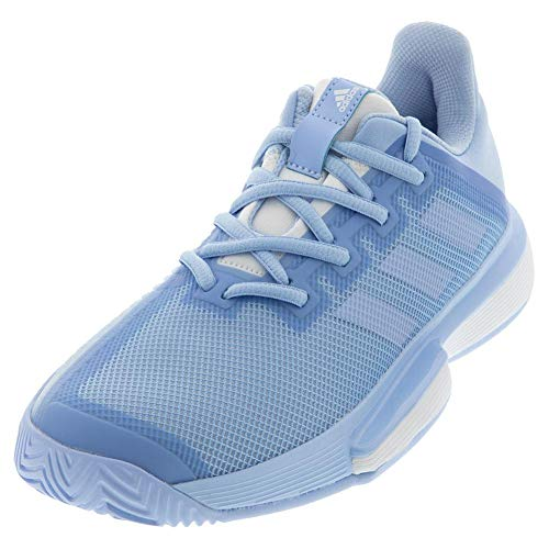 adidas Women's SoleMatch Bounce Tennis Shoe, Glow Blue/Glow Blue/White, 8 M US