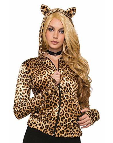 Forum Novelties Women's Leopard Hoodie W/Ears, As Shown, Standard for $<!--$19.45-->