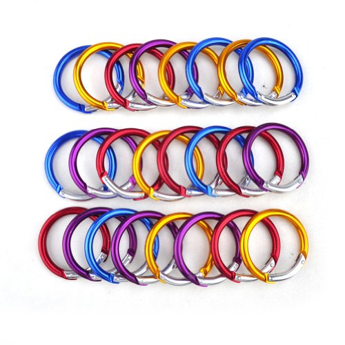 GOGO 24PCS 2 Round Shape Carabiners Aluminum Keychain Clip in Assorted Colors