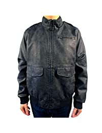 Dockers Men's Faux Leather Stand Collar Jacket