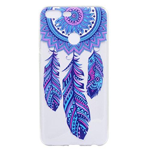Funda para Huawei Honor 9 Lite , IJIA Transparente Azul Plumas Dreamcatcher TPU Silicona Suave Cover Tapa Caso Parachoques Carcasa Cubierta para Huawei Honor 9 Lite (5.65)