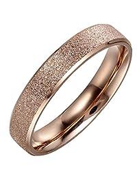 Flongo Free Engraving Womens Girl Rose Gold Stainless Steel Sparkle Matte Bridal Promise Eternity Ring Band