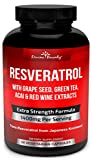 Resveratrol Supplement – 1400mg Extra Strength Formula with Grape Seed Extract, Green Tea Extract, Red Wine Extract- 60 veggie capsules – Made in USA