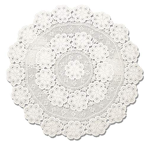 KEPSWET 54 inch Round Beige Crochet Lace Floral Tablecloth Handmade Cotton Coffee Table Party Decor Table Overlay