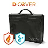 D-Cover: fire resistant document bag – silicone coated fiberglass with Velcro fastener and zipper lock for safe storage of your valuables. Non-itchy, black and large size (11x15x2.5 inches).