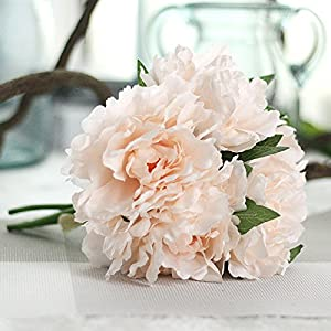 FYYDNZA 5 Flower Heads Artificial Hydrangea Peony Bridal Bouquet Silk Flower For Diy Home Party Decoration With Green Leaf 41