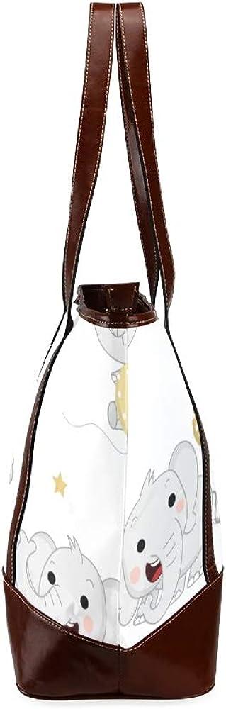 Tote Bags Cute Baby Elephants Balloon Star Travel Totes Bag Fashion Handbags Shopping Zippered Tote For Women Waterproof Handbag