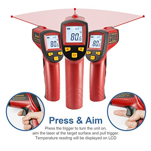 AstroAI Digital Laser Infrared Thermometer, 380 Non-contact Temperature Gun with Range of -58℉~716℉ (-50℃~380℃), Red by AstroAI (Image #3)