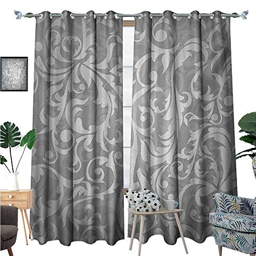Silver Waterproof Window Curtain Victorian Style Large Leaf Floral Pattern Swirl Classic Abstract French Vintage Print Blackout Draperies for Bedroom W72 x L108 Gray