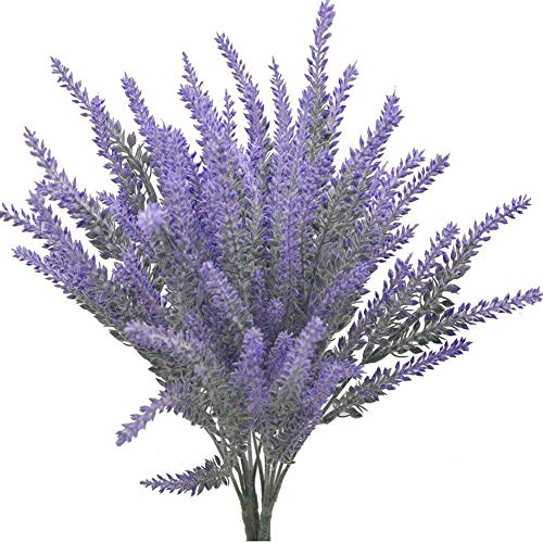 Beebel 4 Bundles Artificial Flower Lavender Bouquet in Purple Flowers for Home Decor and Wedding Decorations