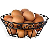 Black Wire Scroll Fruit, Vegtable, Egg Basket