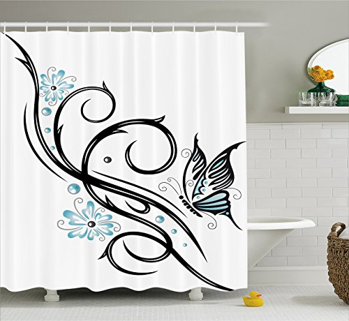 (Ambesonne Tattoo Decor Shower Curtain, Leaf Like Design with Blue Flowers and a Flying Butterfly Image, Fabric Bathroom Decor Set with Hooks, 84 Inches Extra Long, Blue Black)