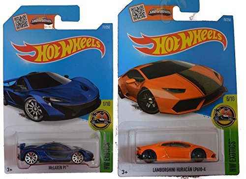 Hot Wheels 2016 Lamborghini Huracan LP610-4 Orange & Metallic Blue McLaren P1 2-Car Exotic Set