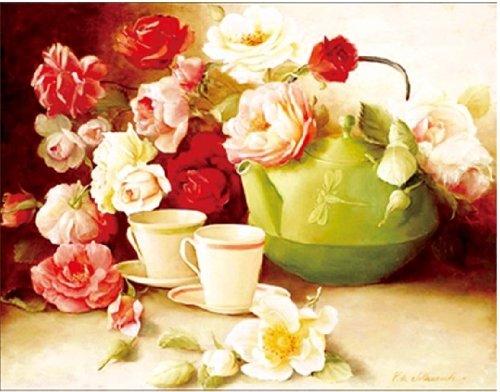 (Happy Hour Peony Tea Cup Set Floral Cross Stitch)