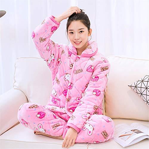 Cálidos Cálido Algodón Baijuxing Domicilio 2 Gruesos Franela Coral A Piezas Xxl Mujer Pijamas L De Servicio Falda Camisón Conjunto 7r87xf