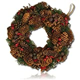 "Custom & Unique (13"" Inches) 1 Single Mid-Size Decorative Holiday Wreath for Door, Made of UV Resistant Resin w/ Festive Yule Time Christmas Holly Pine Cones & Berries Style (Red, Green, & Brown)"