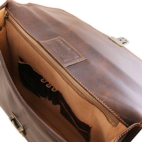 8100504 - TUSCANY LEATHER: AMALFI - Aktentasche Notebooktasche aus Leder, schwarz