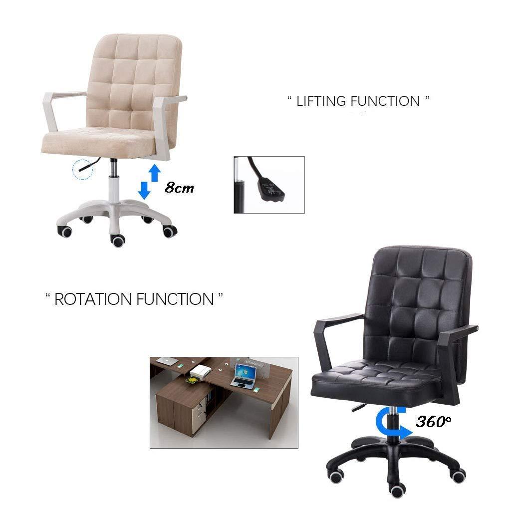 SSNG Svängbar stol, stol möbler tyg hem kontor dator skrivbord svängbar pall på hjulen, 8 cm justerbar höjd, nylonbas Svart