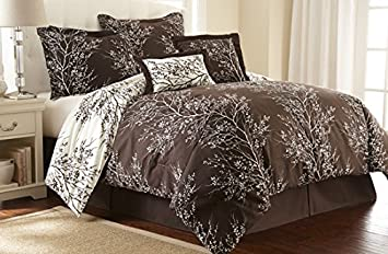 Hotel New York Foliage Design 90 GSM 6 Piece Microfiber Reversible  Comforter Set, King