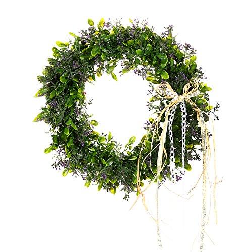 Meiyiu Green Leaf Wreath with Bow Door Hanging Wall Window Decoration,Small Wreath,Holiday Festival Wedding Decor