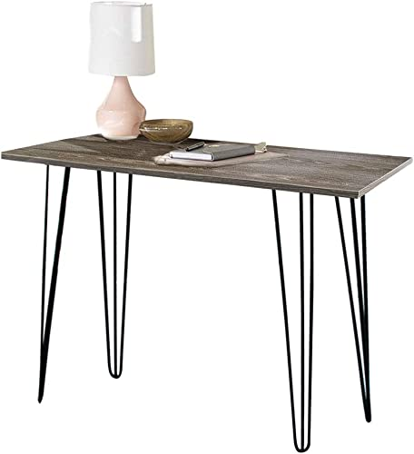 ChooChoo Home Owen Retro Desk with Metal Legs Weathered Oak, Writing Computer Desk 43 inch Brown